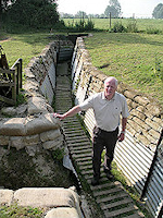 Steve Williams in a trenches at Auchonvillers