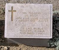 Harold Rush's Memorial Stone at Lone Pine Cemetery