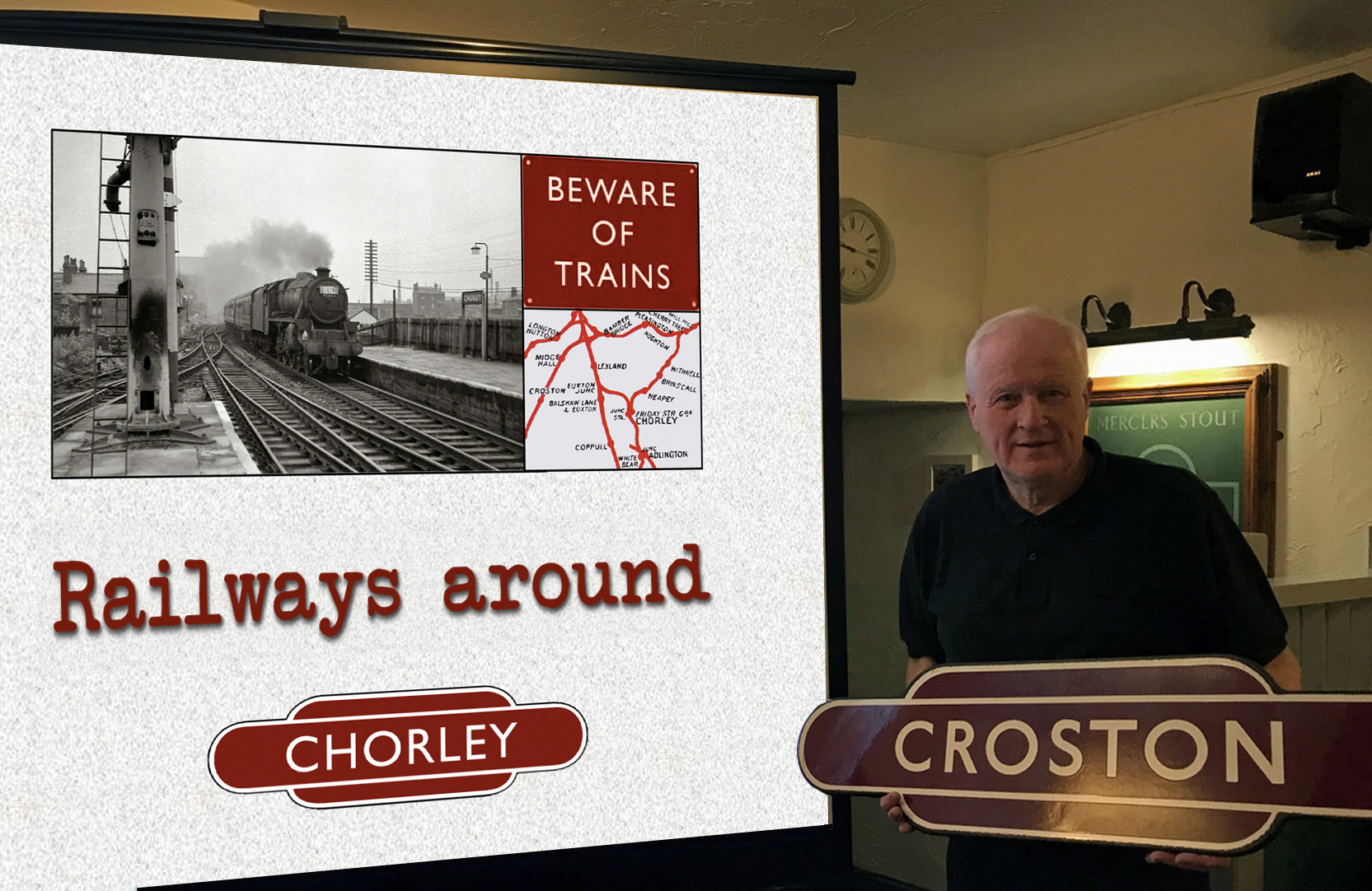 Steve presenting his railway talk