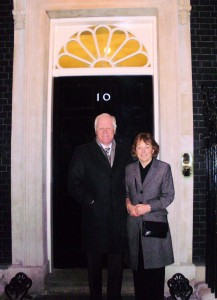 Steve and Pam Williams outside the famous door