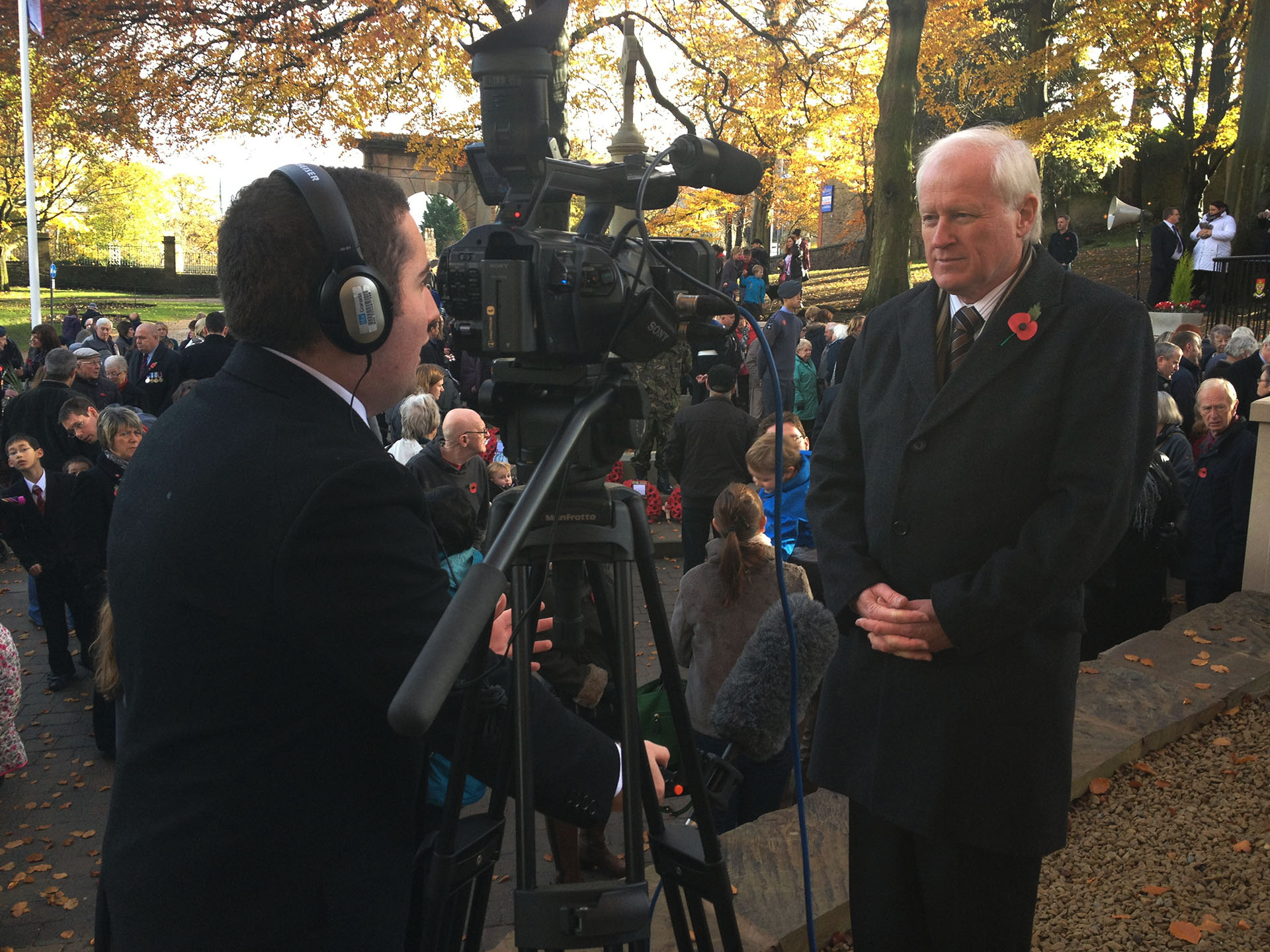 Steve talking to Granada Reports on Remembrance Sunday 2012 at the recently-refurbished Chorley War Memorial